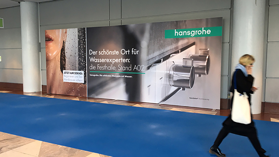 Advertising wall at the Messe Frankfurt fairground